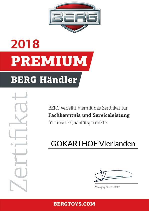 BERG Toys Premium Händler Zertifikat