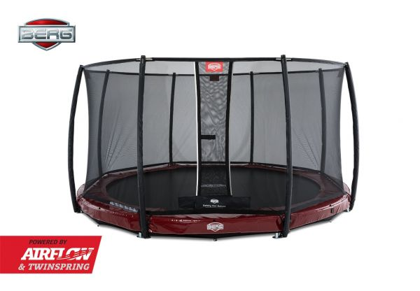 BERG Trampolin InGround Elite Red Ø330 cm + Sicherheitsnetz Deluxe