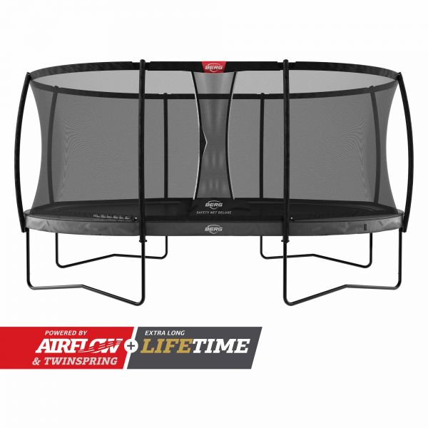 BERG Trampolin Regular GRAND Elite Grey oval 520 x 345 cm + Sicherheitsnetz Deluxe