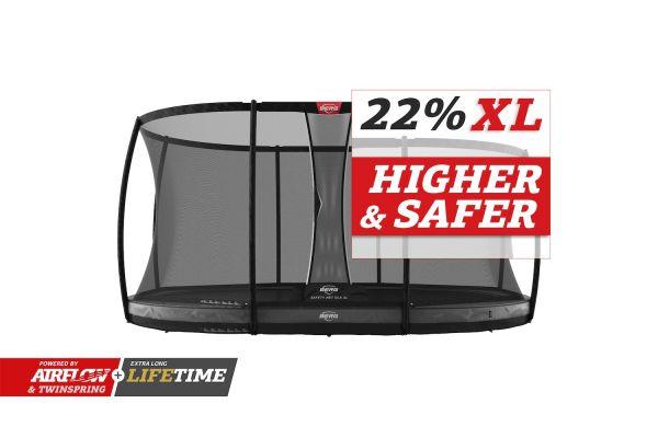 BERG Trampolin InGround GRAND Elite Grey oval 520 x 345 cm + Sicherheitsnetz DLX XL