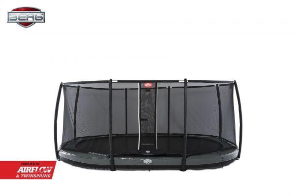 BERG Trampolin InGround GRAND Elite Grey oval Ø520 cm + Sicherheitsnetz Deluxe