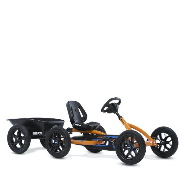 BERG Gokart Buddy B-Orange (Facelift 2021) inkl. Anhängerk. und Anhänger Junior