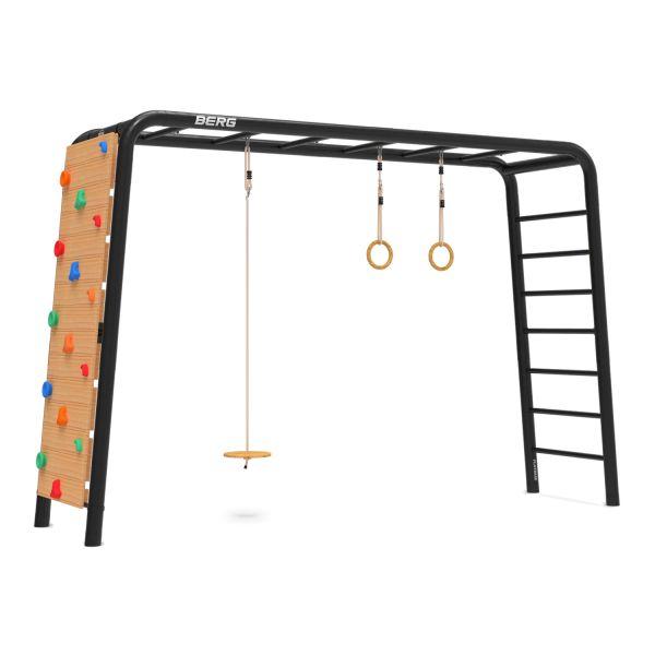 BERG PlayBase 3-in-1 Large mit Reckstange, Leiter, Untertassenschaukel, Turnringe und Kletterwand