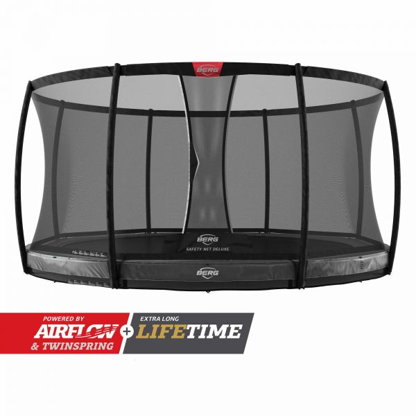 BERG Trampolin InGround Elite Grey Ø380 cm + Sicherheitsnetz Deluxe