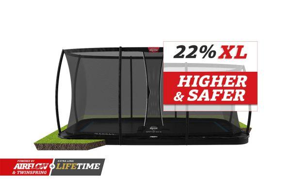 BERG Trampolin FlatGround ULTIM Elite Black 500 + Sicherheitsnetz DLX XL