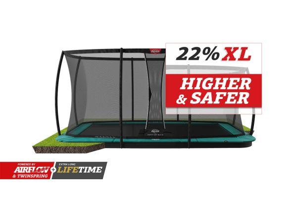 BERG Trampolin FlatGround ULTIM Champion Green 410 + Sicherheitsnetz DLX XL