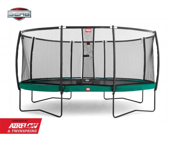 BERG Trampolin Regular GRAND Champion Green oval 350 x 250 cm + Sicherheitsnetz Deluxe