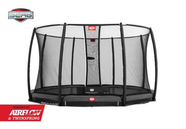 BERG Trampolin InGround Champion Grey Ø380 cm + Sicherheitsnetz Deluxe