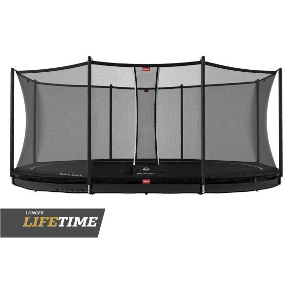 BERG Trampolin InGround GRAND Favorit Black oval 520 x 345 cm + Sicherheitsnetz Comfort