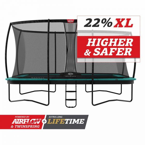 BERG Trampolin Regular ULTIM Champion Green 410 + Sicherheitsnetz DLX XL inkl. Leiter