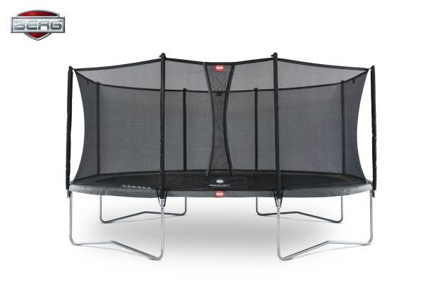 BERG Trampolin Regular GRAND Favorit Grey oval 520 x 345 cm + Sicherheitsnetz Comfort