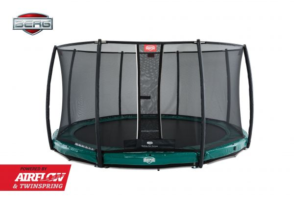 BERG Trampolin InGround Elite Green Ø430 cm + Sicherheitsnetz Deluxe