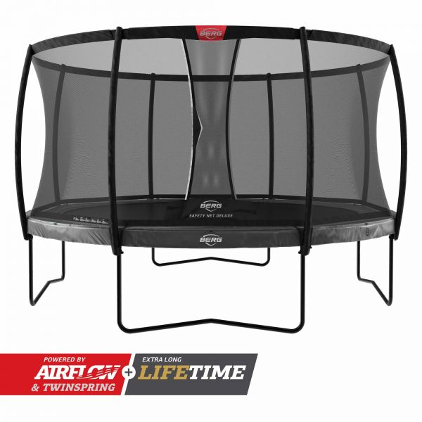 BERG Trampolin Regular Elite Grey Ø330 cm + Sicherheitsnetz Deluxe