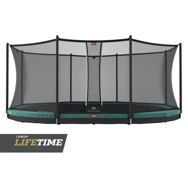 BERG Trampolin InGround GRAND Favorit Green oval 520 x 345 cm + Sicherheitsnetz Comfort
