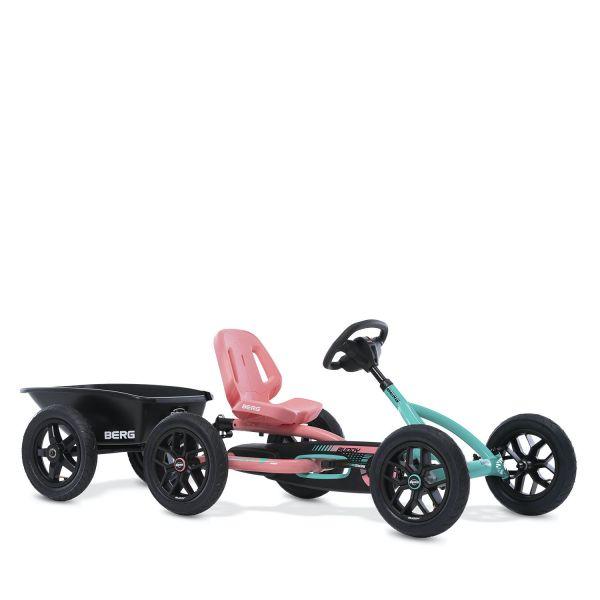BERG Gokart Buddy Lua türkis/pink (Facelift 2021) inkl. Anhängerk. und Anhänger Junior