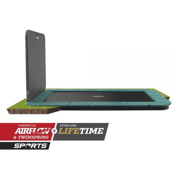 BERG Trampolin FlatGround ULTIM Champion Green 410 + AeroWall 2x2 BLK&GRY