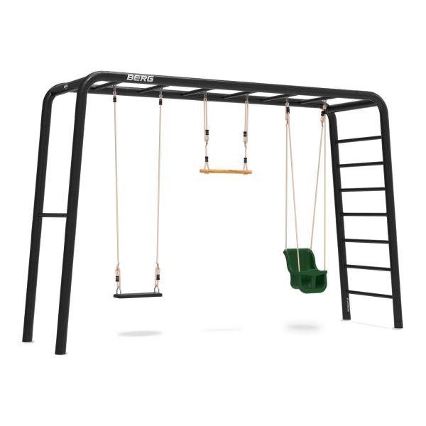 BERG PlayBase 3-in-1 Large mit Reckstange und Leiter inkl. Babysitz, Gummischaukel und Trapez