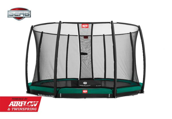 BERG Trampolin InGround Champion Green Ø380 cm + Sicherheitsnetz Deluxe
