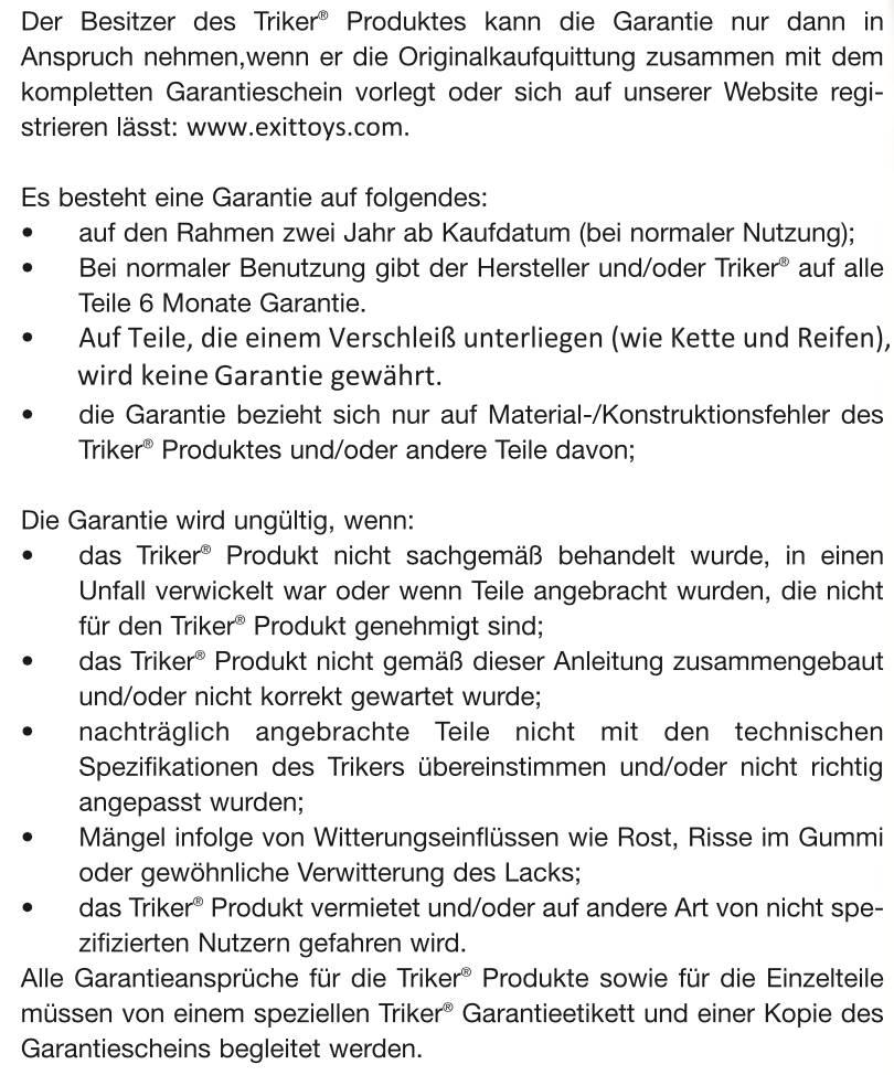 EXIT-Triker-Garantiebedingungen
