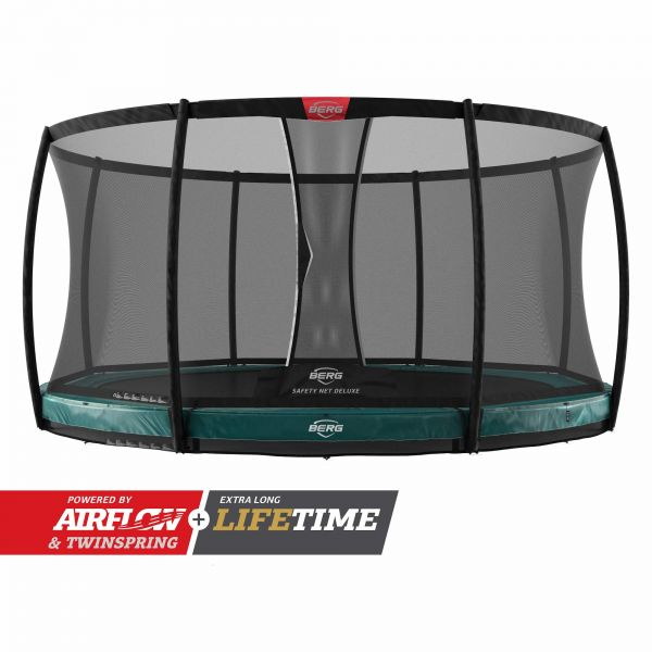 BERG Trampolin InGround Elite Green Ø330 cm + Sicherheitsnetz Deluxe