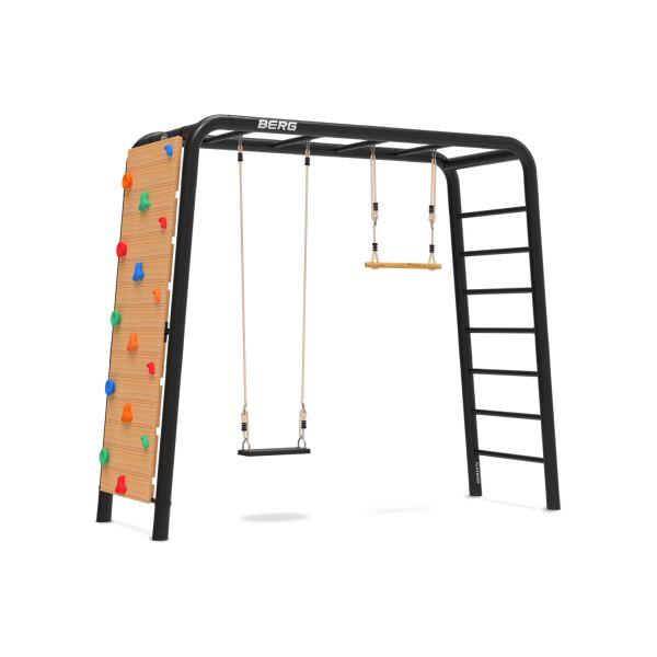 BERG PlayBase 3-in-1 Medium mit Reckstange und Leiter inkl. Gummischaukel, Trapez und Kletterwand