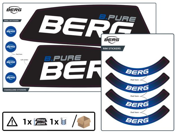 BERG Ersatzteil Sticker-Set XL Rahmen Aufkleber B.Pure Blue