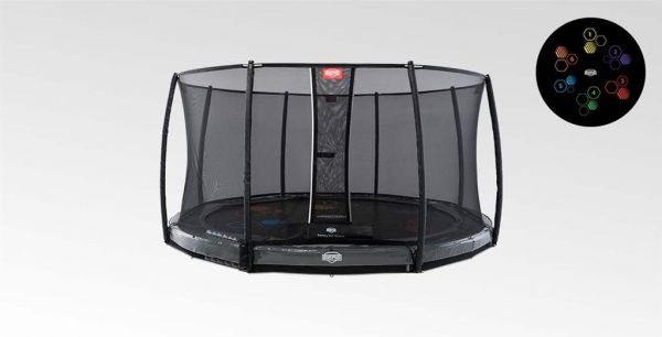 BERG Trampolin InGround Elite Grey Levels Ø430 cm + Sicherheitsnetz Deluxe