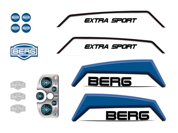 BERG Ersatzteil Sticker-Set XL Rahmen - Aufkleber Basic/Extra Blue
